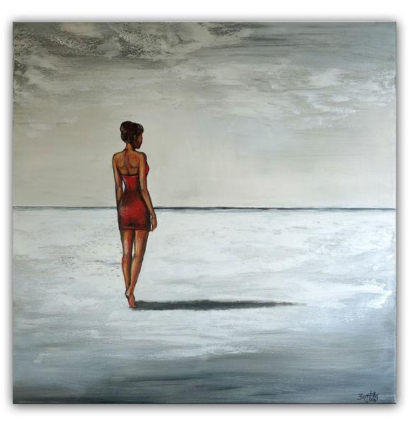 Erwartung, Grau, Gemälde, Landschaftsmalerei, Frau, Meer