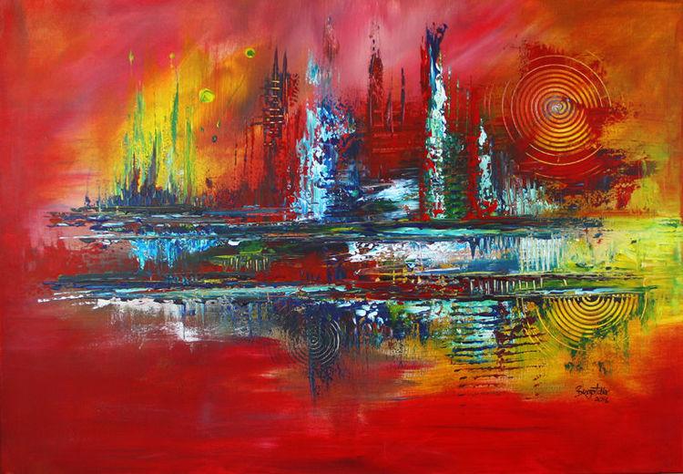 Feuer, Abstrakt, Rot, Dekoration, Gemälde, Orange