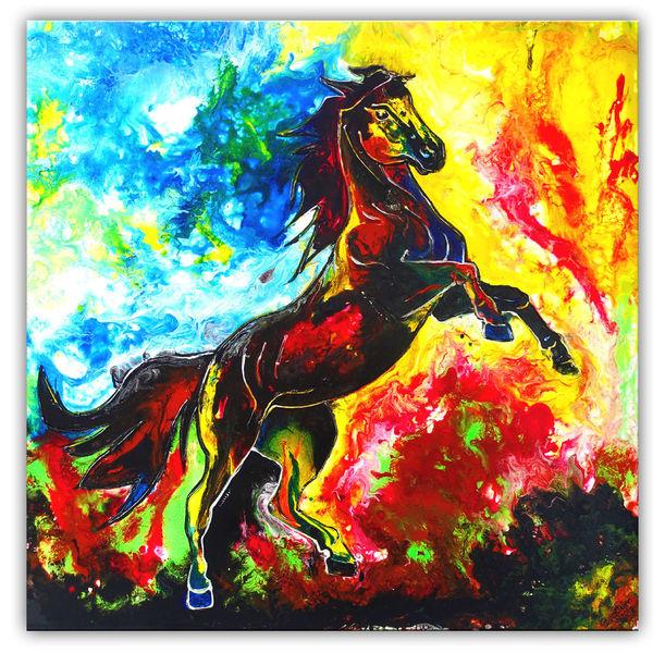 Hengst, Gemälde, Feuerpferd, Malen, Dekoration, Pferde