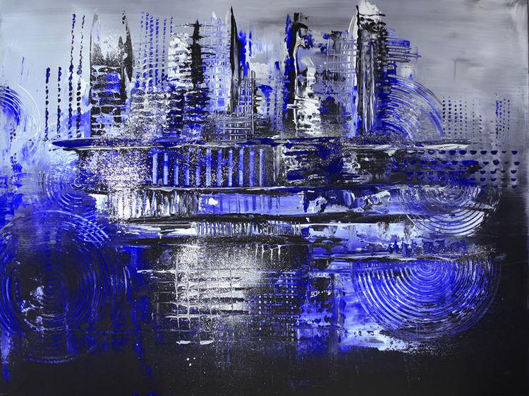 Blau, Dekoration, Grau, Acrylpainting, Abstrakt, Wohnzimmer