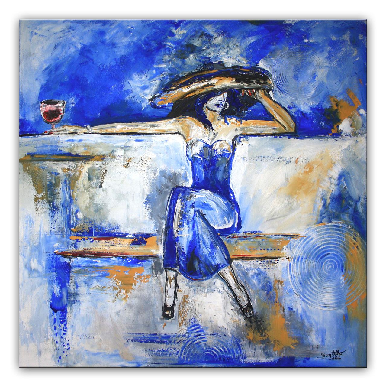 Bild: Frau, Modern, Abstrakte malerei, Blau von Alex B bei ...