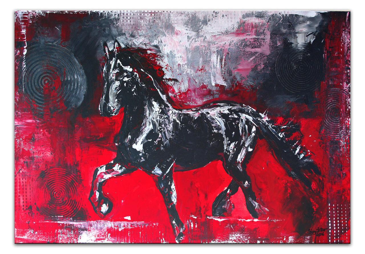 bild pferd rot schwarz grau von alex b bei kunstnet. Black Bedroom Furniture Sets. Home Design Ideas