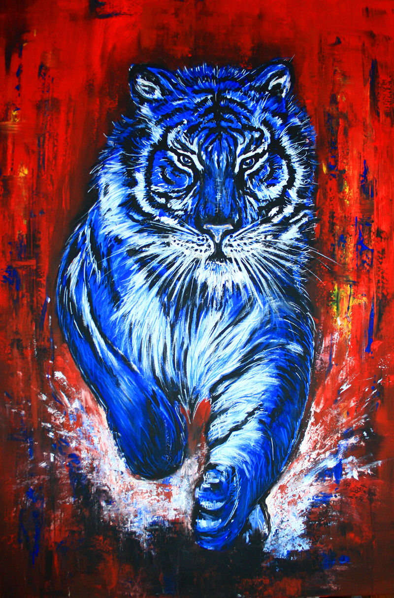 tiger blau 2 gemaelde moderne malerei kunst bilder leinwandbild bild kunst von alex b bei. Black Bedroom Furniture Sets. Home Design Ideas