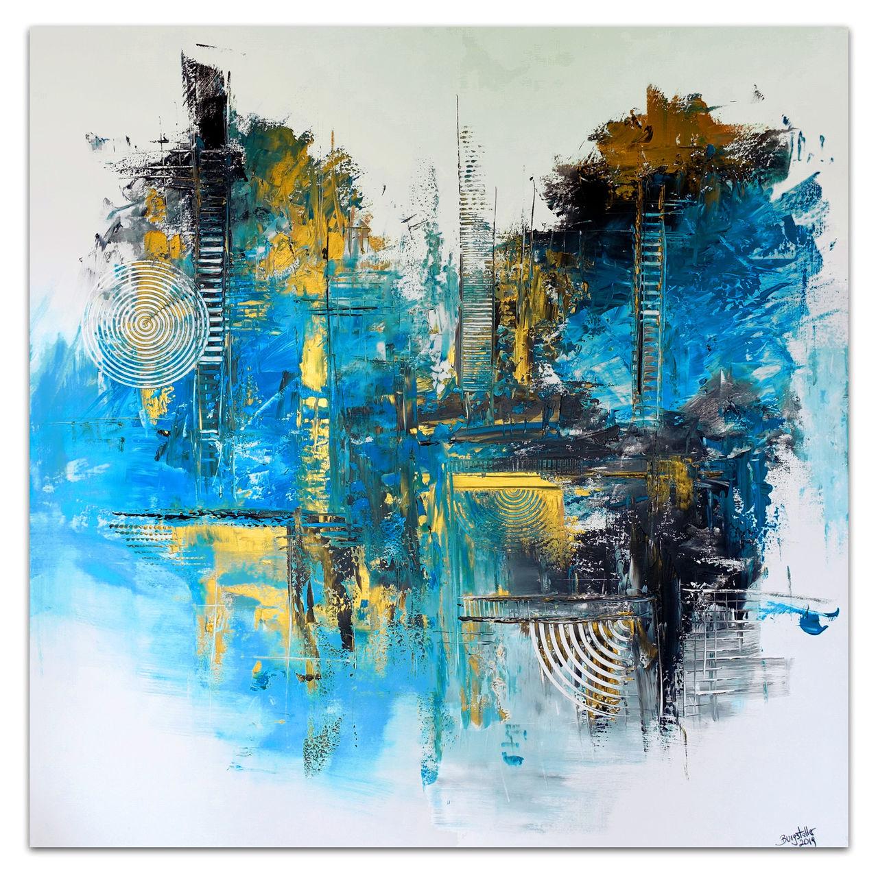 Wandbild Abstrakte Malerei Blau Grau Gold Moderne Kunst Bilder Acrylmalerei Wandbild Malen Abstrakte Malerei Von Burgstallers Art Bei Kunstnet