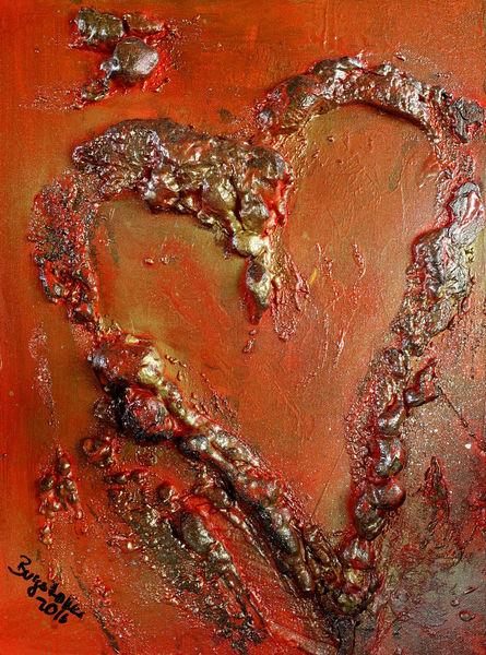 Abstrakt, Wohnzimmer, Herz, Malen, Gemälde, Acrylmalerei