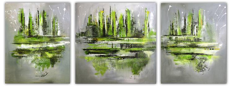 Querformat, Abstrakte malerei, Kunst bilder, Abstrakte kunst, Handgemaltes bild, Abstrakt grün grau