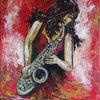 Saxophonistin, Acrylmalerei, Kunst bild, Malerei