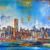 Malerei, Stadt, Städtemalerei, New york