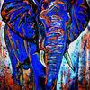 Malen, Blau, Gemälde, Modernes elefantenbild