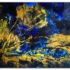 Acrylmalerei, Blau gelb, Korallen, Gemälde