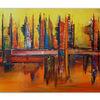 Skyline, Wandbild, Handgemalt140x70, Abstrakte malerei