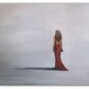 Frau, Malen, Rotes abendkleid, Elegant