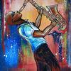 Musik, Gelb, Saxophonspieler, Gemälde
