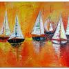 Sonnenuntergang, Acrylmalerei, Segelboot, Kunstbild handgemalt