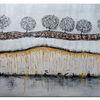 Abstrakte bäume, Erde gold braun, Acrylmalerei, Malen