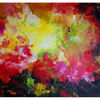 Abstrakte kunst, Urknall, Fluid painting, Lila rot gelb