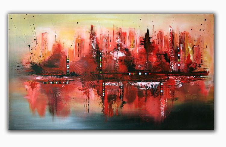 bild rot skyline modern acrylmalerei von alex b bei kunstnet. Black Bedroom Furniture Sets. Home Design Ideas