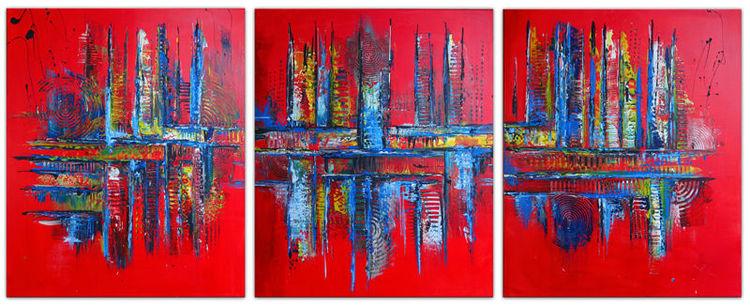 Malerei, Rot blau, Abstrakte bilder, Dreiteilig gemälde, Acrylmalerei, Mehrteiler