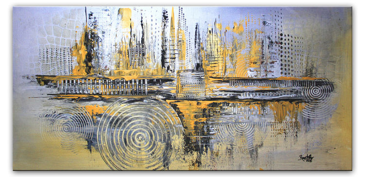 Silber gold grau wandbild abstrakt leinwandbild querformat acrylmalerei gelb gold - Leinwandbild grau ...