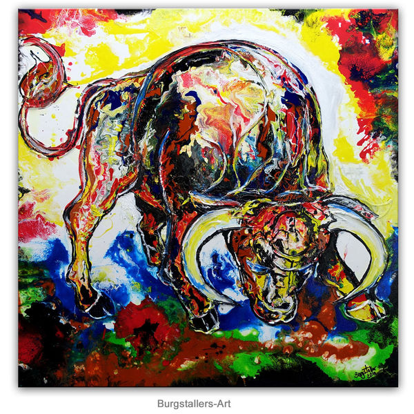 Bulle, Tiere, Malerei, Abstrakt, Acrylmalerei, Stier