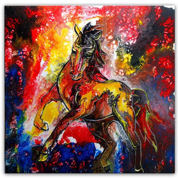 Malen, Acrylmalerei, Pferde, Bunt, Pferdemalerei, Fluid painting