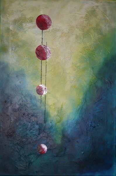 Acrylmalerei, Abstrakt, Schrubben, Kugel, Malerei, Tiefe