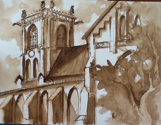 Kirche, Architektur, Aquarellmalerei, Aquarell, Hamburg,
