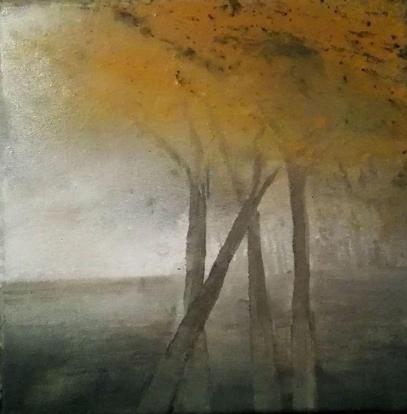 Ocker, Baum, Landschaft, Weiß, Malerei