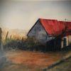 Wein, Haus, Aquarellmalerei, Himmel landschaft