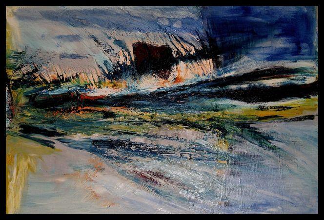 Kalk, Sand, Malerei, Ölmalerei, Landschaft, Strand