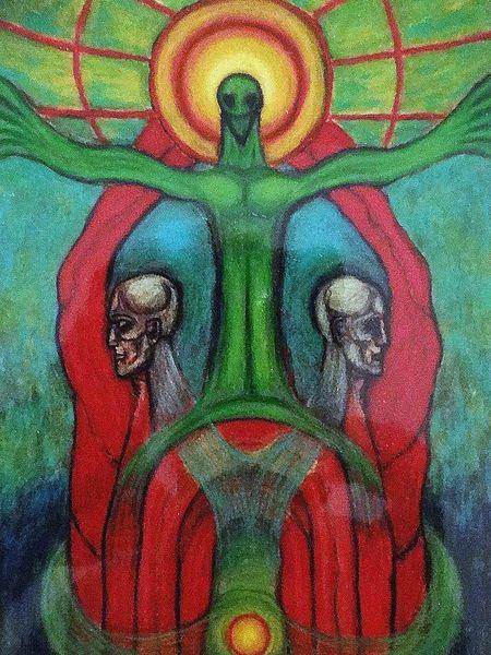 Befindlichkeit, Malerei, Mischtechnik, Symbolismus, Auferstehung