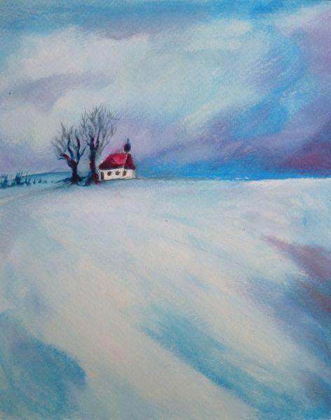 Feld, Wolken, Schnee, Baum, Winter, Himmel