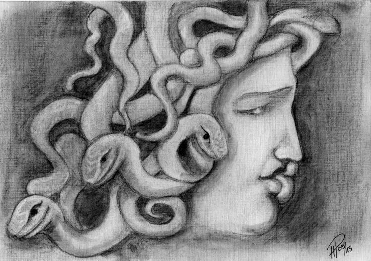 Portrait, Kohlezeichnung, Skizze, Zeichnungen, Medusa