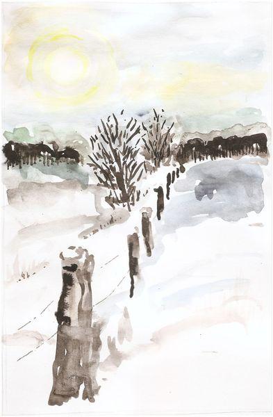 Mischtechnik, Landschaft, Himmel, Schnee, Aquarellmalerei, Winter