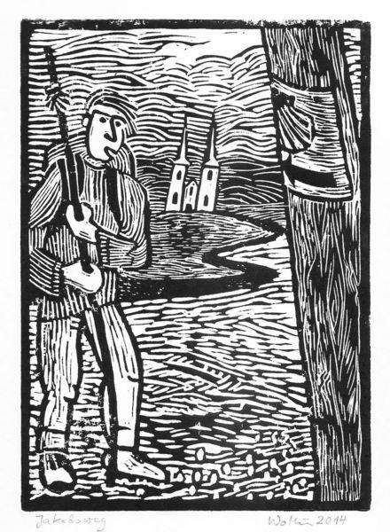 Jakobsweg, Druckgrafik, Wanderung, Landschaft, Kirche, Linolschnitt