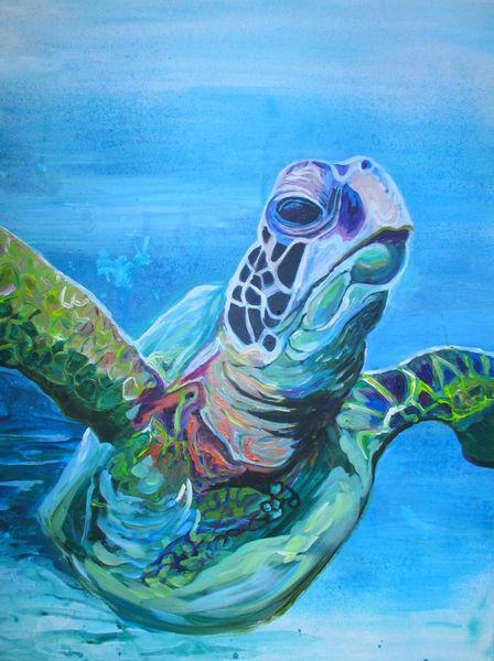 Meeresschildkröte, Meer, Blau, Malerei