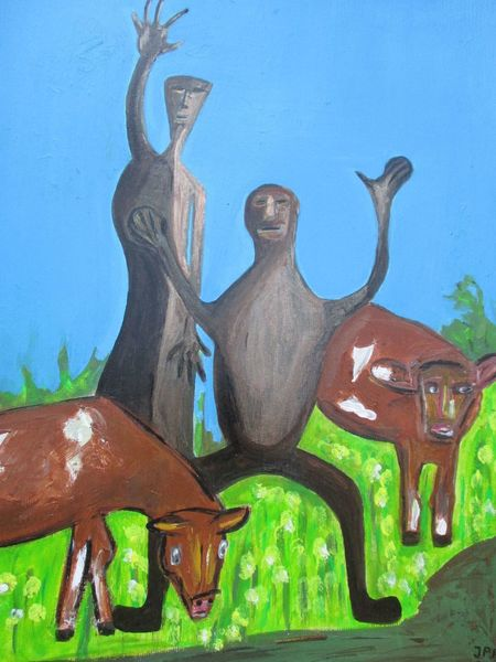 Hellblau, Figur, Tiere, Modern, Abstrakt, Malerei