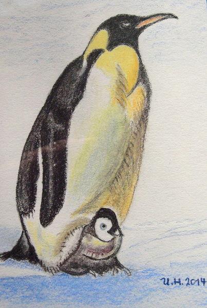 Pinguinmama, Pinguin, Zeichnungen, Kind