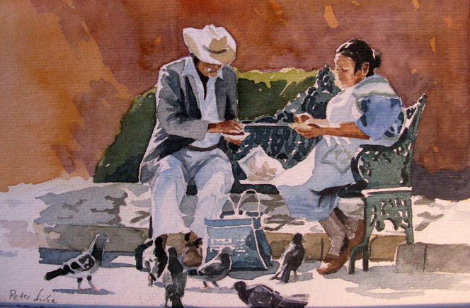 Paar, Guanajuato, Sommer, Aquarellmalerei, Mexiko, Taube