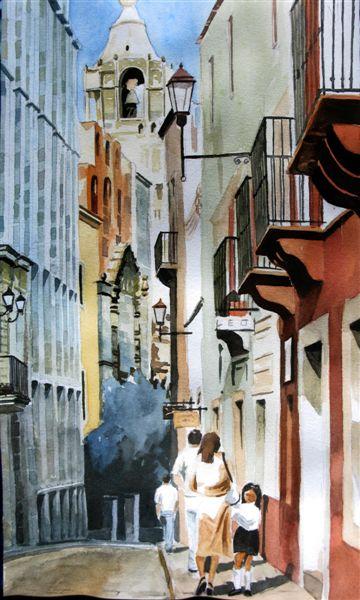 Architektur, Kolonialismus, Guanajuato, Straße, Mutter kind, Mexiko