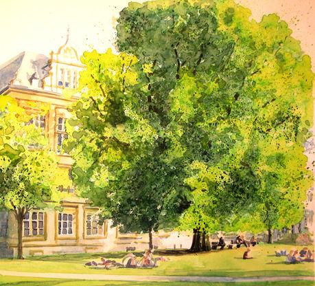 Deutschland, Park, Stadt, Pflanzen, Sonne, Gebäude
