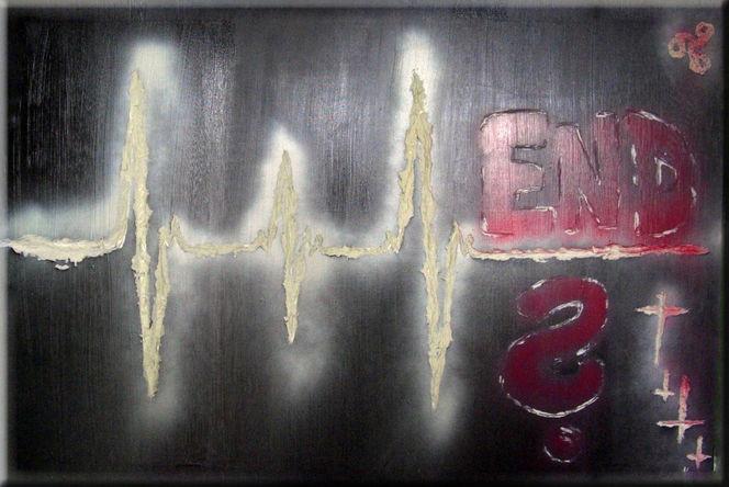 Himmel, Graffiti, Sprühfarbe, Tod, Hölle, Spachteltechnik