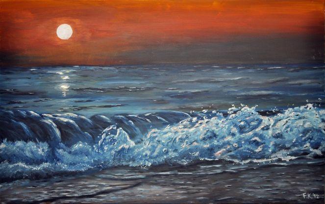 Abend, Sonnenuntergang, Strand, Abendstimmung, Welle, Urlaub
