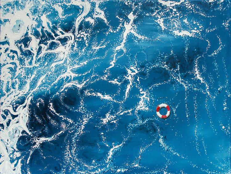 Rettungsring, Weiß, Meer, Acrylmalerei, Mittelmeer, Welle