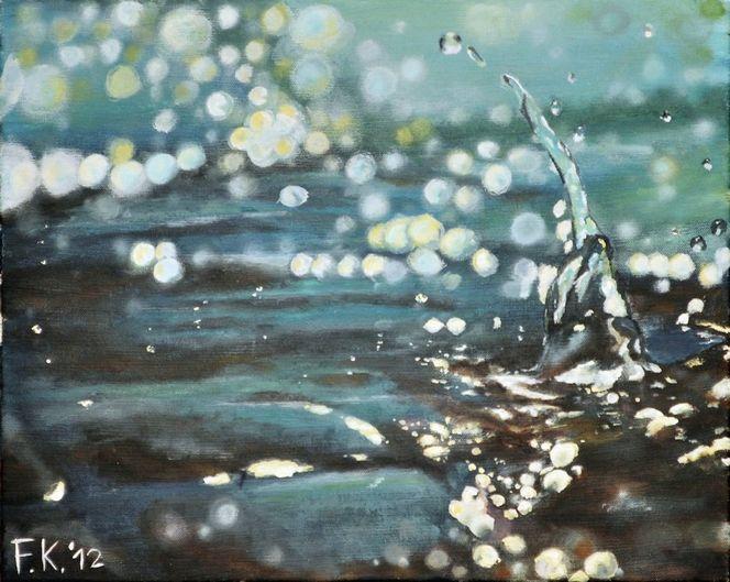 Tropfen, Platscher, Realismus, Wasser, Nass, Malerei