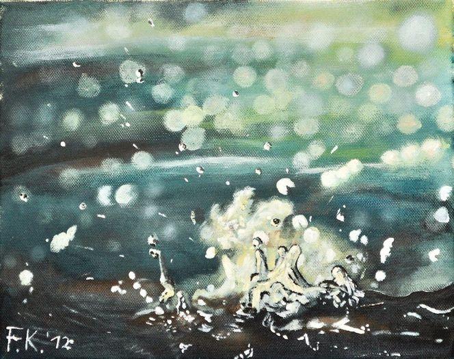 Realismus, Wasser, Nass, Tropfen, Platscher, Malerei