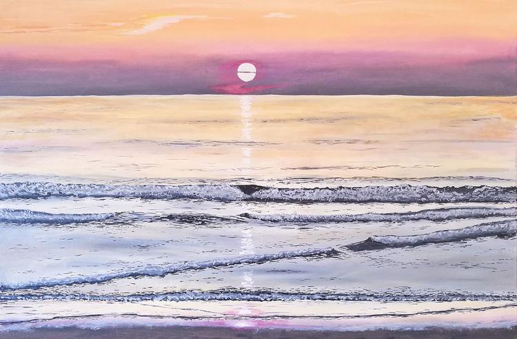 Sonne, Wasser, Wasseroberfläche, Acrylmalerei, Nordsee, Malerei