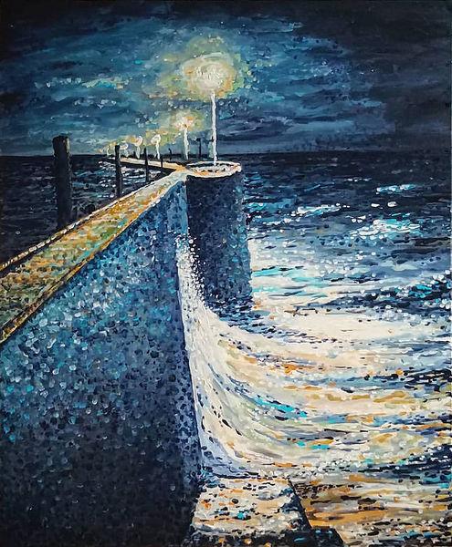 See, Sturm, Impressionismus, Seenot, Horizont, Acrylmalerei