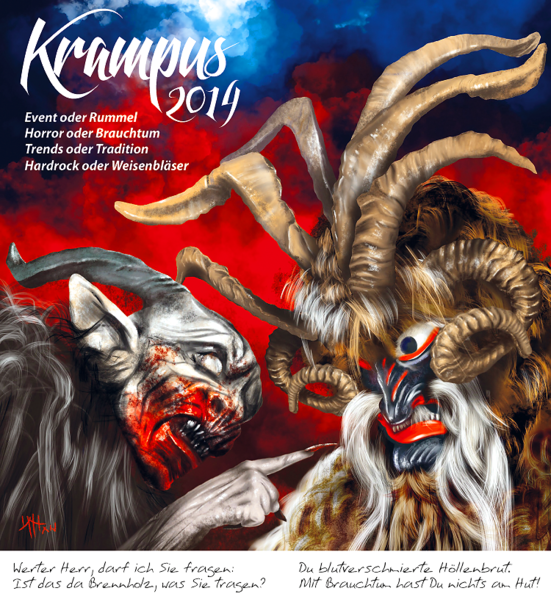 Krampus, Perchten, Brauch, Illustrationen, Comic, 2014