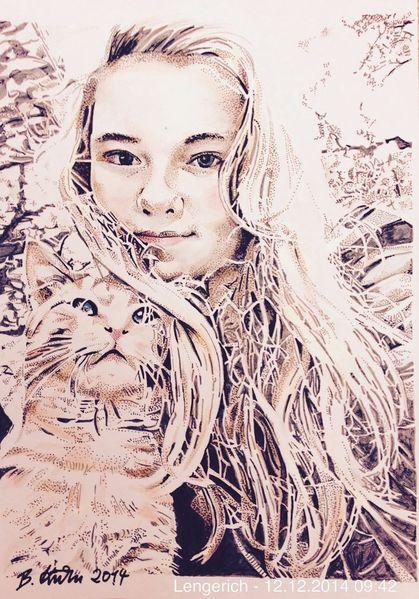 Portrait, Pop art, Kater, Tochter, Kinder, Zeichnungen